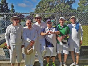 Berkeley participants at 2016 PIMD Men's Singles Championships. From left: Jim Corr, Des Simpson, Cris Benton, John Hooper, Rob Hoey, Frankie Napoli.