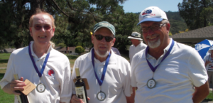 Gold Medal Winners (l-r): Jim Corr (skip), Bob Schwartz (lead), Frank Matyskiela (second). Photo: Martha Mckee